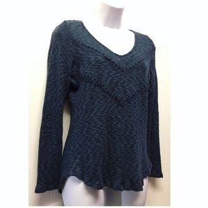 Anthropologie | Pleione Blue Crochet Detail Shirt